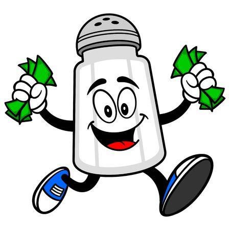 お金を実行している塩のシェーカー  イラスト・ベクター素材