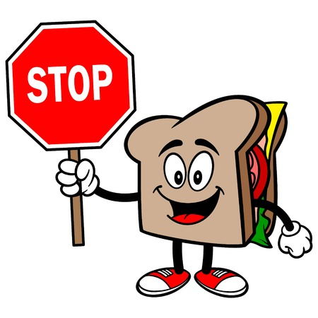Sandwich with a Stop Sign Stock Illustratie