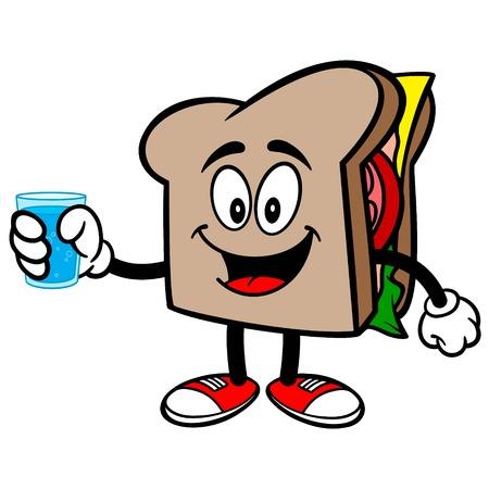 水を飲みながらサンドイッチ