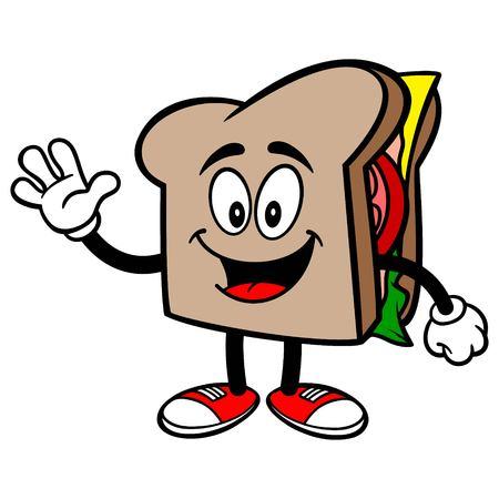 サンドイッチに手を振っています。  イラスト・ベクター素材