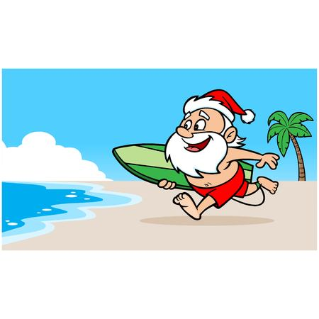 christmas tide: Santa at Beach Illustration