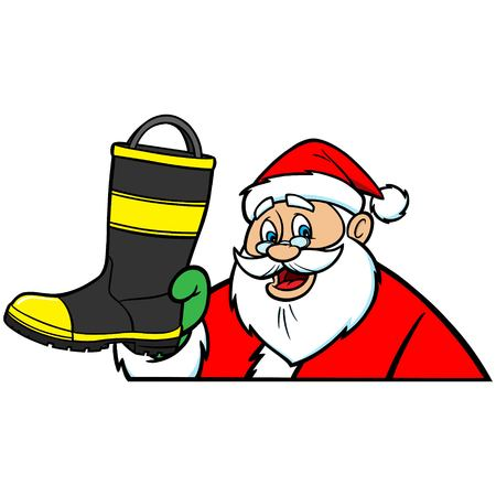 fireman: Santa with Fireman Boot Illustration