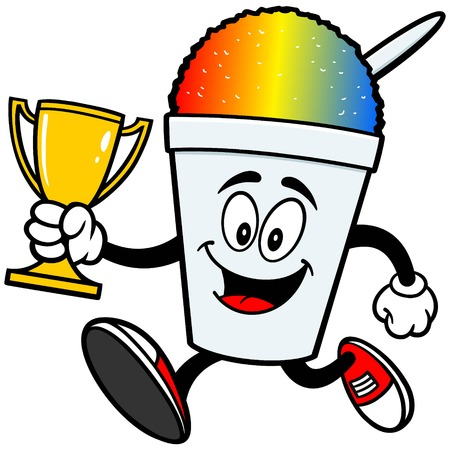 Shaved Ice Running with Trophy Illustration