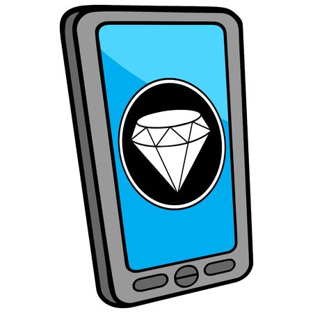 smart phone woman: Smartphone Jewelry Store Locator Illustration