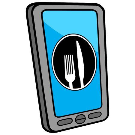 Smartphone Restaurant Locator Illustration