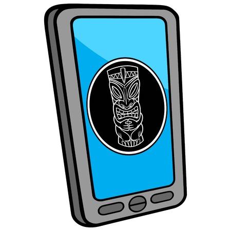 tiki: Smartphone Tiki Bar Locator Illustration