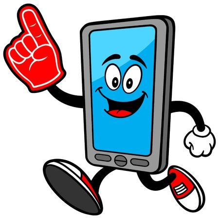 foam finger: Smartphone with Foam Finger