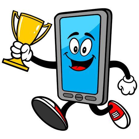 Smartphone con el trofeo