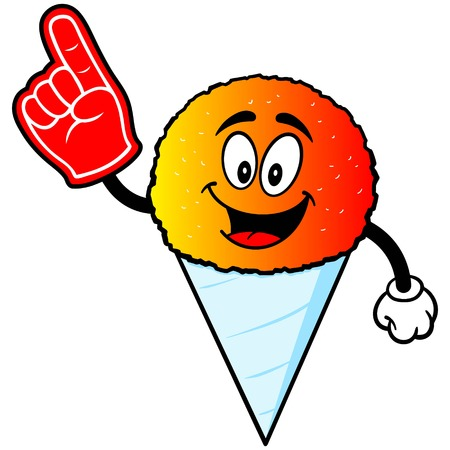 snow cone: Snow Cone with Foam Finger Illustration