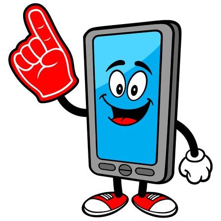 Smartphone con el dedo de espuma Ilustración de vector