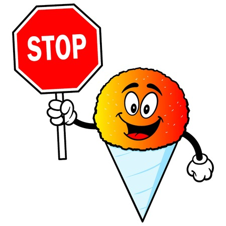 snow cone: Snow Cone with Stop Sign Illustration