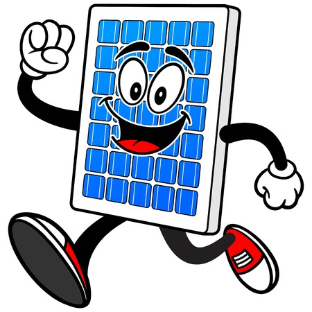 太陽電池パネルの実行  イラスト・ベクター素材
