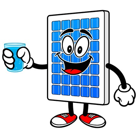 Solar Panel with Glass of Water