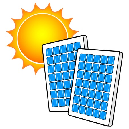 Solar Panels with Sun Illustration