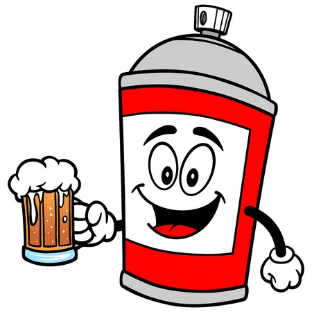 paint can: Spray Can with Beer