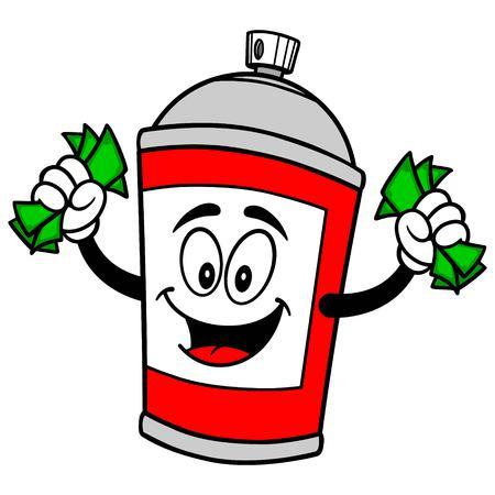 Spray Can with Money Reklamní fotografie - 57879847
