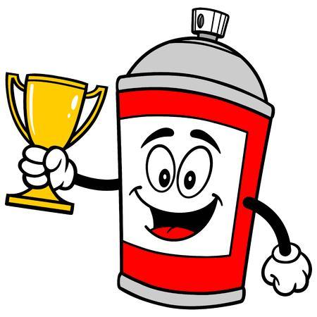 Spray Can with Trophy Reklamní fotografie - 57879845