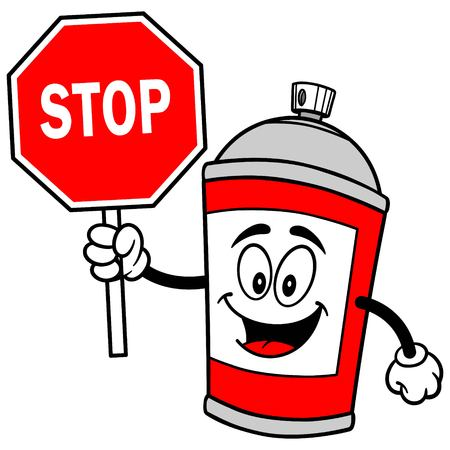 Spray Can with Stop Sign Reklamní fotografie - 57879849