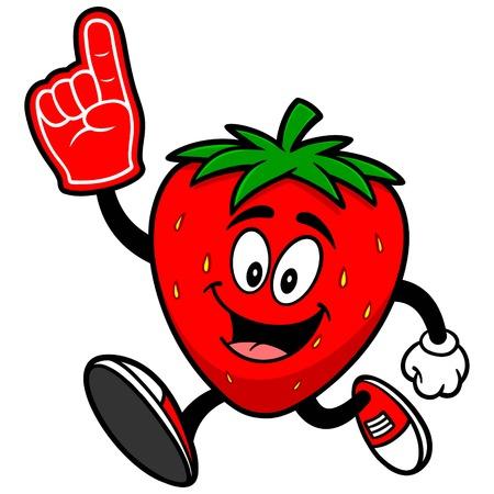 foam finger: Strawberry Running with Foam Finger
