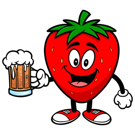 Erdbeere mit Bier Standard-Bild - 57934847