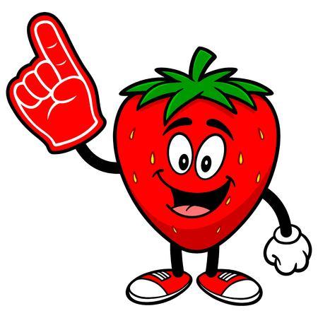 foam finger: Strawberry with Foam Finger