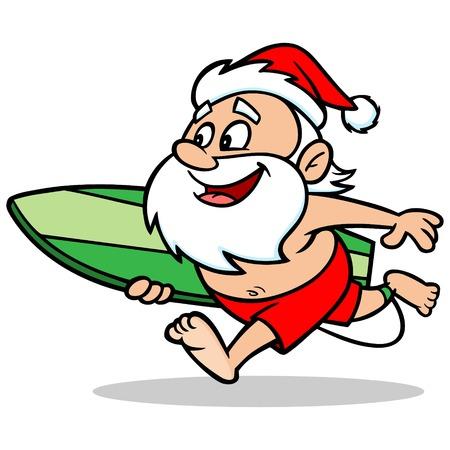 서핑 산타 일러스트