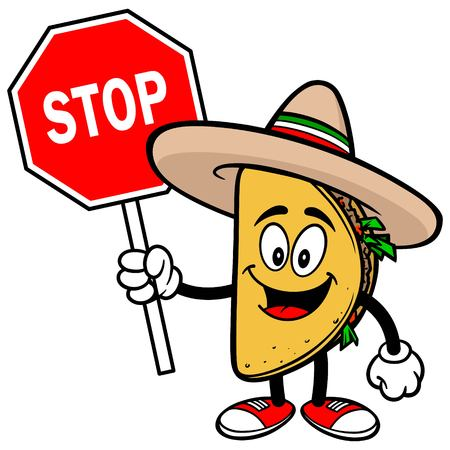ground beef: Taco with Stop Sign Illustration