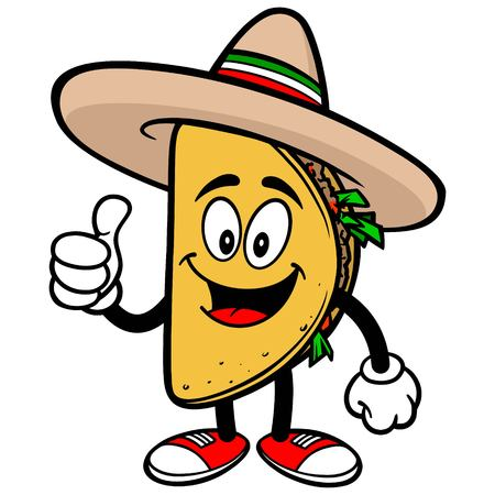 Taco with Thumbs Up Illustration