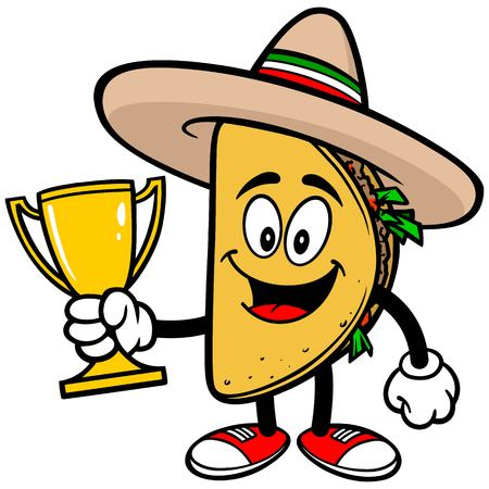 ground beef: Taco with Trophy Illustration