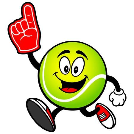泡指で実行しているテニス ボール