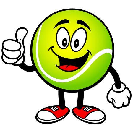 Balle de tennis avec des pouces vers le haut Banque d'images - 57935398