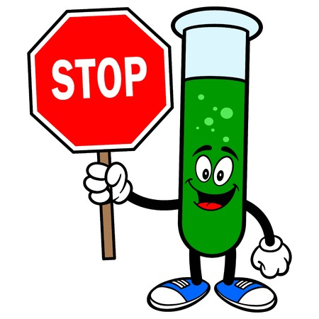caution chemistry: Test Tube with a Stop Sign Illustration