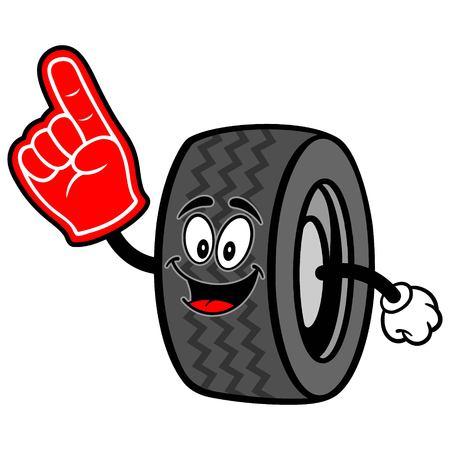 motoring: Tire with Foam Finger Illustration