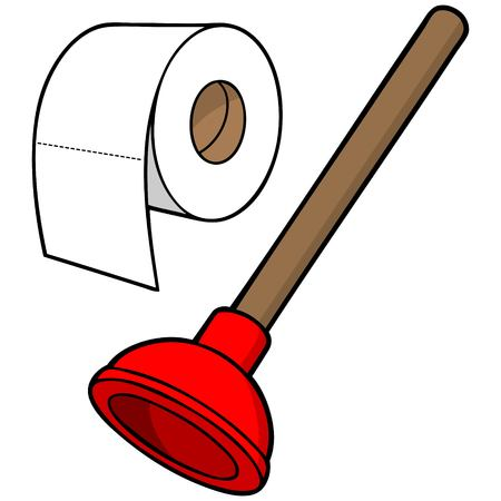 latrine: Toilet Paper and Plunger