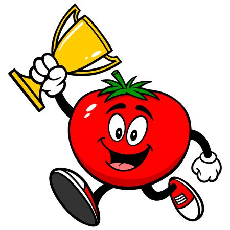 jogging in nature: Tomato Running with Trophy Illustration