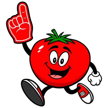foam finger: Tomato Running with Foam Finger
