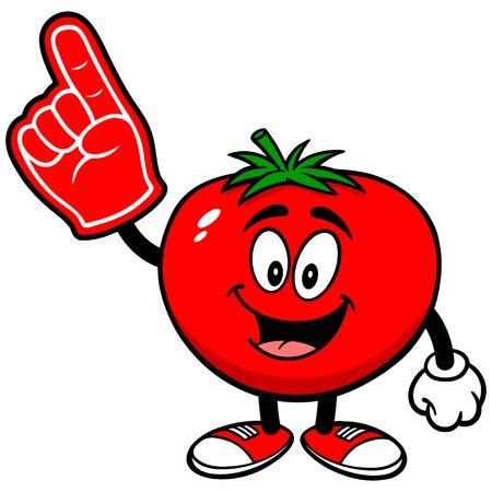 foam finger: Tomato with Foam Finger Illustration
