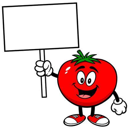 Tomate mit Zeichen