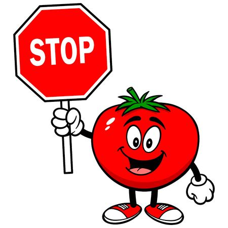 Tomato with Stop Sign