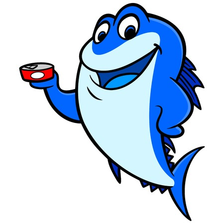 tuna fish: Tuna Fish holding a Can Illustration
