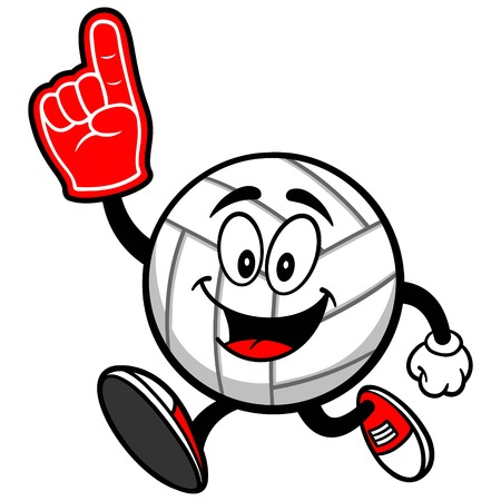 sports equipment: Volleyball Mascot Running with Foam Finger Illustration