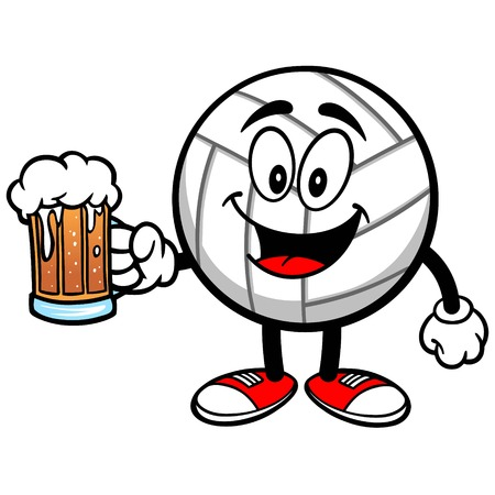 Volleyball Mascot with Beer Ilustrace