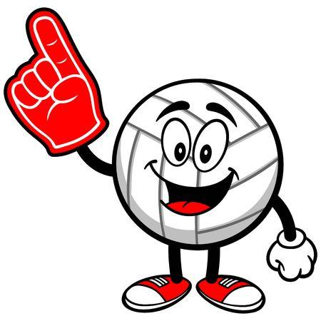 foam finger: Volleyball Mascot with Foam Finger Illustration