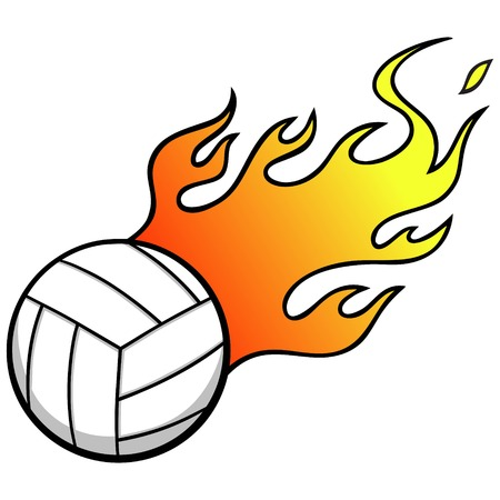 Volleyball with Flames Ilustrace