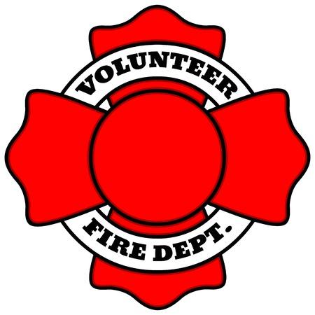 cruz roja: Cuerpo de bomberos voluntario Vectores