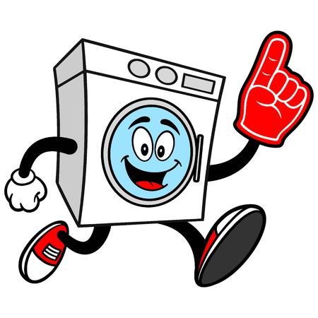 Washer Running with a Foam Finger Illustration