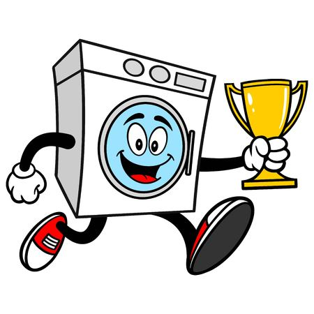 Washer Running with a Trophy