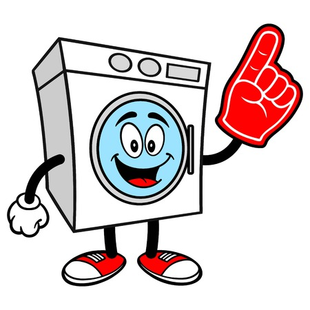 Washer with a Foam Finger Stock Illustratie