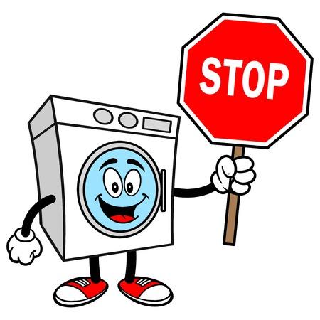 Wasmachine met een stopbord Stockfoto - 57936029