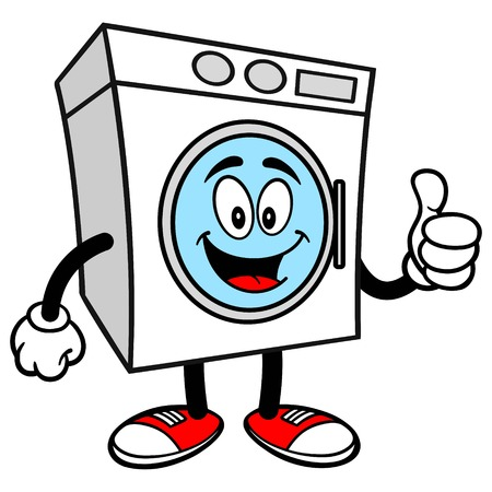 Wasmachine met Thumbs Up Stockfoto - 57936058